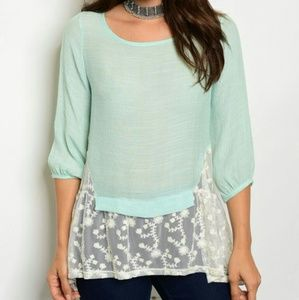 🆑MINT LACE DETAIL TUNIC🆑